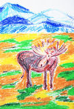 The Elk. Color pastels drawing. Stock Images