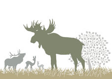 Elk and deer by tree. Illustration of silhouetted elk and deer stood on field by decorative tree with white background Stock Photography