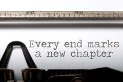Elk eind is een nieuw hoofdstuk stock afbeelding