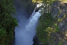 Elk Falls Campbell River high angle view. Looking from a viewing platform down towards the Elk Falls  near Campbell River Vancouver Island British Columbia Stock Images
