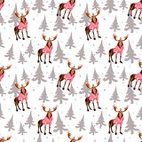 Elk and firtrees, winter hand drawn background, watercolor seamless pattern. Elk and firtrees, winter hand drawn background, watercolor simple seamless pattern Royalty Free Stock Photos