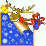 Elk with gifts Stock Photography