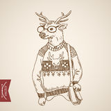 Elk hipster student wearing engraving lineart vintage vector Stock Photos