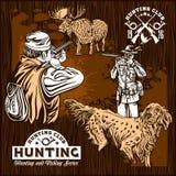 Elk hunting and hunting dog stock illustration