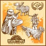 Elk hunting and hunting dog royalty free illustration