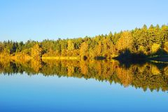 Elk Lake. At autumn sunset, BC Canada Stock Photo