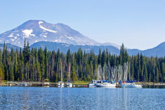 Elk Lake Boat Marina Oregon Royalty Free Stock Photos