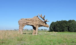 Elk made from hay Stock Photography
