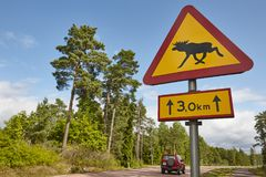 Elk moose traffic road signal on a finnish landscape. Stock Photos