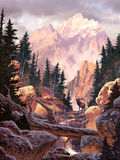 Elk in the Rockies. Image from an original painting by Larry Jacobsen. / AF-026 vector illustration