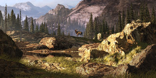 Elk In The Rocky Mountains. Elk near a stream in a Rocky Mountain landscape royalty free illustration