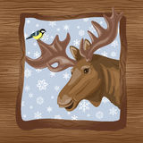 Elk and titmouse Stock Photo