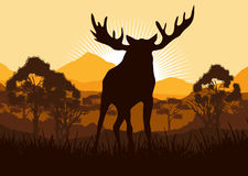 Elk in wild nature landscape illustration Royalty Free Stock Photography