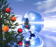 Elka Red Ball. Xmas tree landscape with mirror ball- 3d scene. More in my portfolio Royalty Free Stock Photos