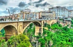 ElKantara横跨Rhummel河的桥梁在康斯坦丁,阿尔及利亚 免版税库存图片