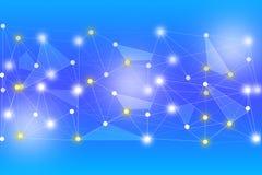 Elke witte cirkel die door witte lijnen op blauwe achtergrond wordt verbonden Royalty-vrije Stock Foto