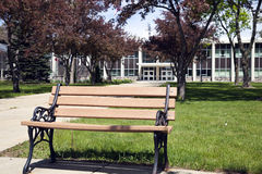 Elkhorn, WI. Sconsin - Bench in front of Walworth County Buiding royalty free stock images