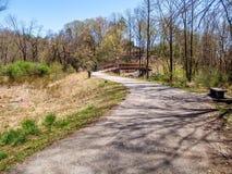 Elkin & Alleghany Rail Trail. The Elkin & Alleghany Rail Trail follows along Big Elkin Creek in Elkin, North Carolina royalty free stock image