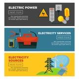 Elkraft, elektricitetskällor och befordrings- affischer för service stock illustrationer