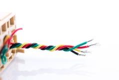 Elkraft för nätverk för utrustning för teknologi för färgtrådkabel plast- arkivbilder