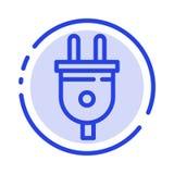 Elkraft propp, makt, blå prickig linje linje symbol för maktpropp stock illustrationer