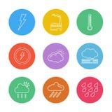 elkraft temprature, bransch, thermomter, ekologi, sol, vektor illustrationer