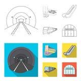 Elkraft, transport, utrustning och annan rengöringsduksymbol i översikten, lägenhetstil Offentligt trans., machineryicons i uppsä royaltyfri illustrationer