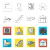Elkraft, transport, utrustning och annan rengöringsduksymbol i översikten, lägenhetstil Offentligt trans., machineryicons i uppsä stock illustrationer