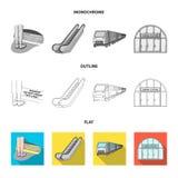 Elkraft, transport, utrustning och annan rengöringsduksymbol i lägenheten, översikt, monokrom stil Offentligt trans., machineryic stock illustrationer