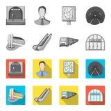 Elkraft, transport, utrustning och annan rengöringsduksymbol i monokrom, lägenhetstil Offentligt trans., machineryicons i uppsätt stock illustrationer