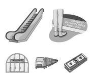 Elkraft, transport, utrustning och annan rengöringsduksymbol i monokrom stil Offentligt trans., machineryicons i uppsättning stock illustrationer