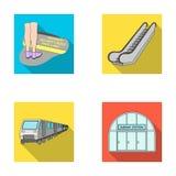 Elkraft, transport, utrustning och annan rengöringsduksymbol i plan stil Offentligt trans., machineryicons i uppsättningsamling stock illustrationer