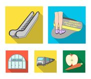 Elkraft, transport, utrustning och annan rengöringsduksymbol i plan stil Offentligt trans., machineryicons i uppsättningsamling royaltyfri illustrationer