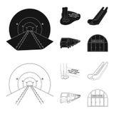 Elkraft, transport, utrustning och annan rengöringsduksymbol i svart, översiktsstil Offentligt trans., machineryicons i uppsättni royaltyfri illustrationer
