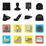 Elkraft, transport, utrustning och annan rengöringsduksymbol i svart, fletstil Offentligt trans., machineryicons i uppsättning royaltyfri illustrationer