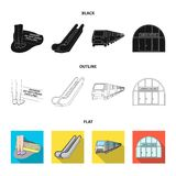 Elkraft, transport, utrustning och annan rengöringsduksymbol i svart, lägenhet, översiktsstil Offentligt trans., machineryicons i vektor illustrationer