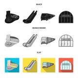 Elkraft, transport, utrustning och annan rengöringsduksymbol i svart, lägenhet, monokrom stil Offentligt trans., machineryicons stock illustrationer
