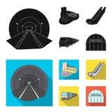 Elkraft, transport, utrustning och annan rengöringsduksymbol i svart, lägenhetstil Offentligt trans., machineryicons i uppsättnin stock illustrationer