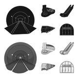 Elkraft, transport, utrustning och annan rengöringsduksymbol i svart, monochromstil Offentligt trans., machineryicons i uppsättni stock illustrationer