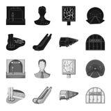 Elkraft, transport, utrustning och annan rengöringsduksymbol i svart, monokrom stil Offentligt trans., machineryicons i uppsättni stock illustrationer