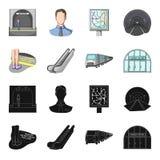 Elkraft, transport, utrustning och annan rengöringsduksymbol i svart, tecknad filmstil Offentligt trans., machineryicons i uppsät vektor illustrationer