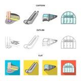Elkraft, transport, utrustning och annan rengöringsduksymbol i tecknade filmen, översikt, lägenhetstil Offentligt trans., machine vektor illustrationer