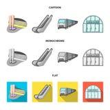 Elkraft, transport, utrustning och annan rengöringsduksymbol i tecknade filmen, lägenhet, monokrom stil Offentligt trans., machin vektor illustrationer