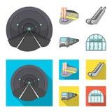 Elkraft, transport, utrustning och annan rengöringsduksymbol i tecknade filmen, lägenhetstil Offentligt trans., machineryicons i  stock illustrationer