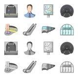 Elkraft, transport, utrustning och annan rengöringsduksymbol i tecknade filmen, monokrom stil Offentligt trans., machineryicons i vektor illustrationer