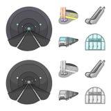 Elkraft, transport, utrustning och annan rengöringsduksymbol i tecknade filmen, monokrom stil Offentligt trans., machineryicons i stock illustrationer