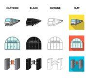 Elkraft, transport, utrustning och annan rengöringsduksymbol i tecknade filmen, svart, översikt, lägenhetstil Offentligt trans. vektor illustrationer