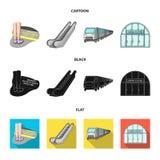 Elkraft, transport, utrustning och annan rengöringsduksymbol i tecknade filmen, svart, lägenhetstil Offentligt trans., machineryi royaltyfri illustrationer