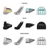 Elkraft, transport, utrustning och annan rengöringsduksymbol i tecknade filmen, svart, monokrom stil Offentligt trans. vektor illustrationer