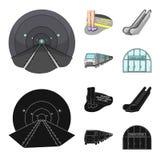 Elkraft, transport, utrustning och annan rengöringsduksymbol i tecknade filmen, svart stil Offentligt trans., machineryicons i up stock illustrationer